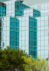 Green Glass in Modern Angled Building