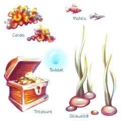 Vector set of sea elements for underwater scene