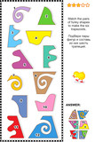 Math puzzle - match the shapes to make trapezoids poster