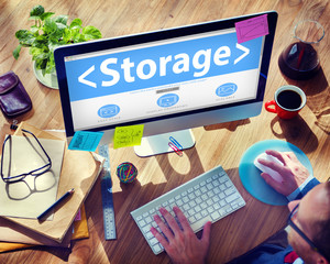Digital Online Storage Data Storage Office Working Concept