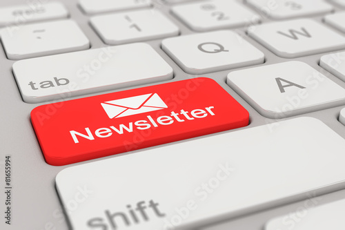 Leinwanddruck Bild keyboard - newsletter - red