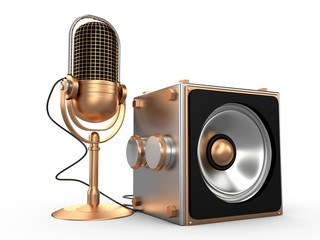Speaker and microphone, 3D