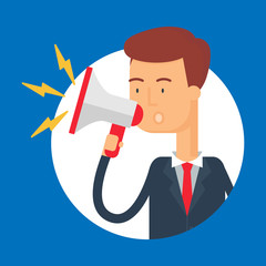 Vector illustration of a businessman shouting into a megaphone