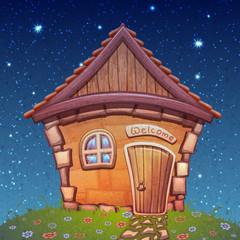 Vector illustration of night cartoon home on meadow