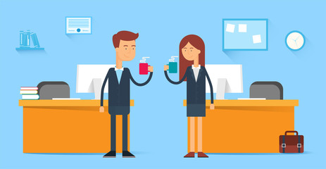 Coffee break, male and female characters in the office