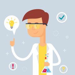 Illustration of scientist, flat style