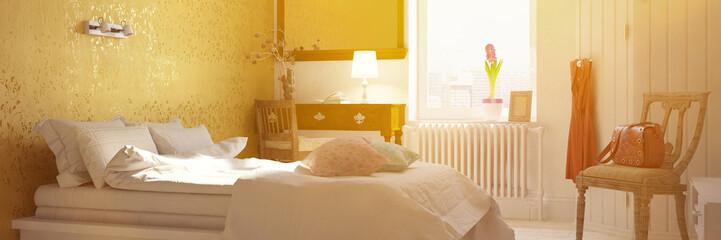 Sonniges Schlafzimmer im Sommer