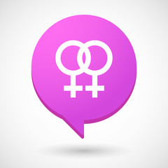 Comic balloon icon with a lesbian sign