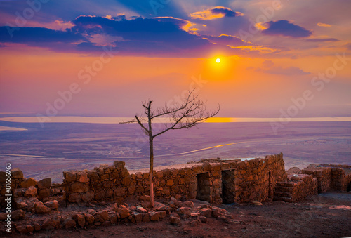 Beautiful sunrise over Masada fortress - 81656963