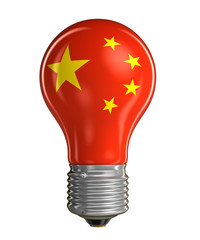 Light bulb with Chinese flag (clipping path included)