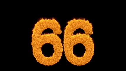 Blazing fiery number 66 on a black background