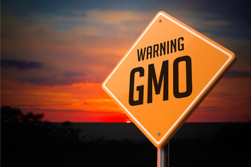 GMO on Warning Road Sign.