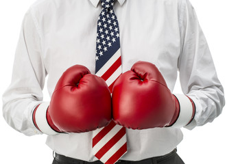 American aggressive businessman with boxing gloves
