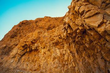 Rock on Masada Fortress in Judean desert