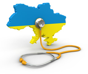 Map of Ukraine with Stethoscope (clipping path included)