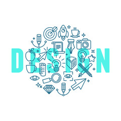 Vector graphic design concept in linear style