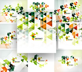 Set of geometric abstract polygonal backgrounds