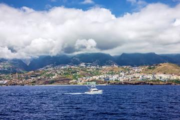 Madeira. Yacht near Funchal beach, Portugal.
