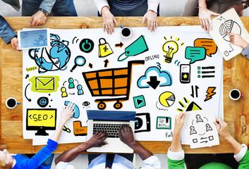 Diversity Casual People Online Marketing Brainstorming
