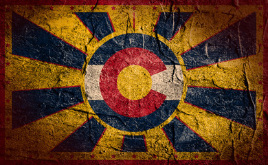 concrete stucco sun burst banner with colorado flag