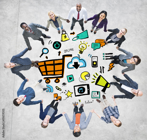 Business People Online Marketing Teamwork Support Concept
