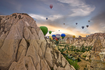 Cappadocia, Turkey, hot air balloons. Sunset mountain scenery