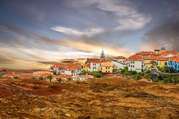 Madeira island, Portugal. Town houses of Porto Cruz and Ponte de