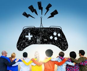 Game Controller Joystick Network Technology Concept