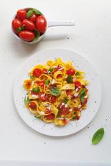 Tagliatelle pasta with tomato and basil