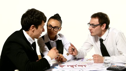 Business team emotionally discusses his ideas. Girl cheerfully