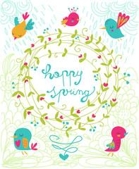 happy spring felice primavera illustrazione