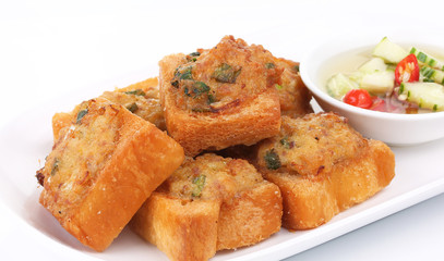 Fried bread with minced pork spread (Thai food)