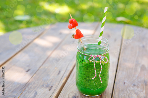 Spinach green smoothie as healthy summer drink. - 81660392