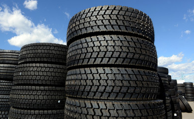 tires stacked in a yard