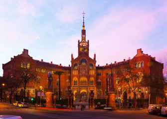 Evening view to Hospital de Sant Pau