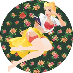 pin-up young woman read book