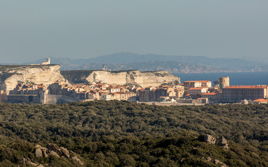 The town and citadel of Bonifacio in south Corsica
