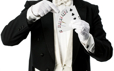 Magician performing trick with cards