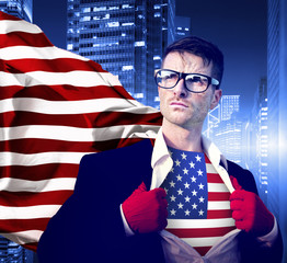 Superhero Businessman Professional Success White Collar American