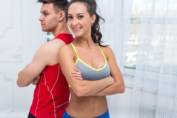 sporty couple friends slim athletic ambitious woman and