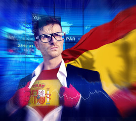 Businessman Superhero Country Spain Flag Culture Power Concept