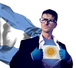 Businessman Superhero Country Argentina Flag Power Concept