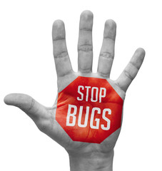 Stop Bugs   Concept on Open Hand.