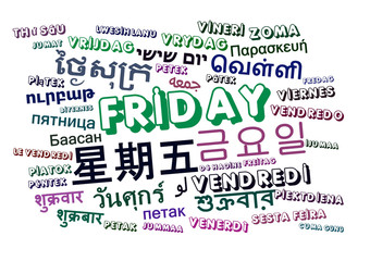 Friday multilanguage wordcloud background concept