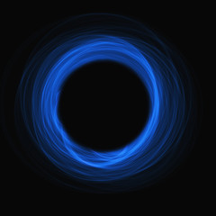 black hole blue glow absorbs light on  black background square