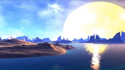 Fantasy alien planet. Rocks and sky