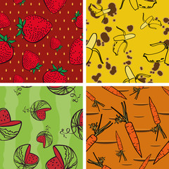 Seamless Background with Bright Vegetarian Pattern(4 in set)