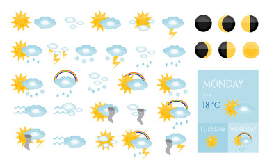 Set, collection, group, pack of modern, isolated, weather icons