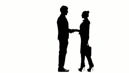 Silhouette of business people: man meets a businesswoman