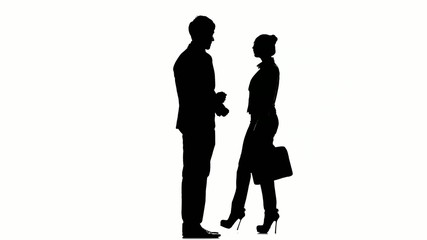 Silhouette of business people: man meets a businesswoman with